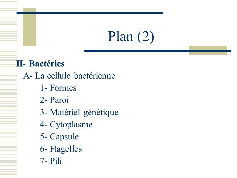 Plan (2) II- Bactéries A- La cellule bactérienne 1- Formes 2- Paroi 3- Matériel génétique 4- Cytoplasme 5- Capsule 6- Flagelles 7- Pili