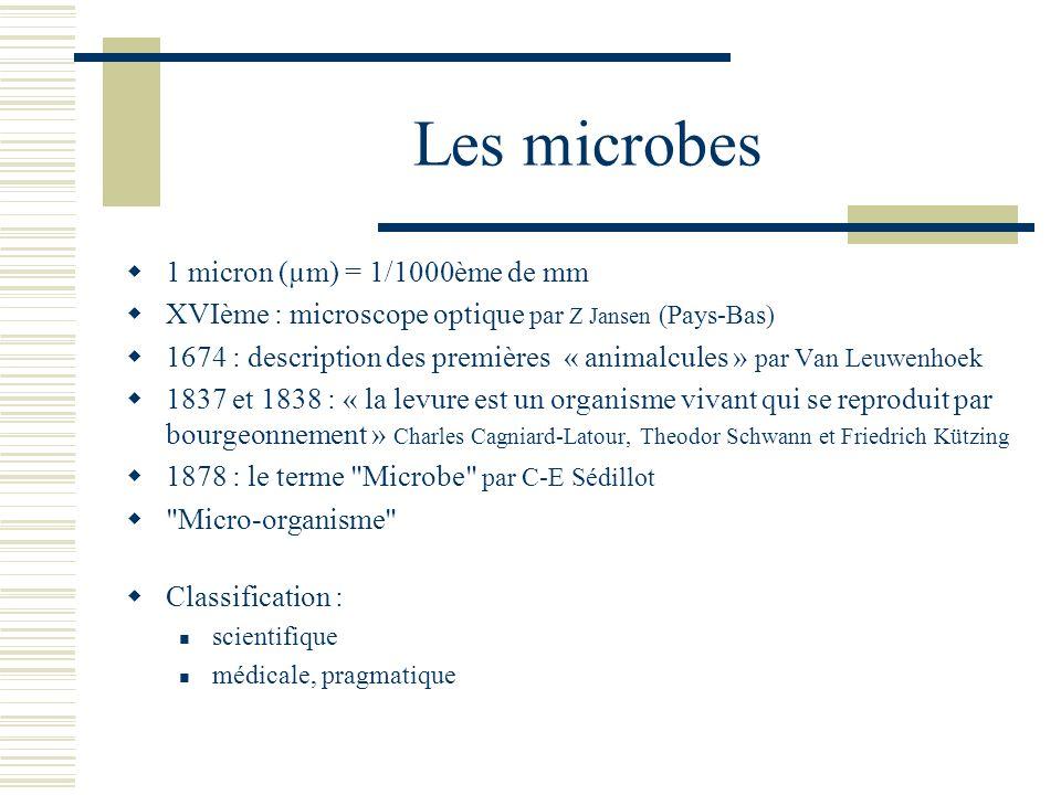 Les microbes 1 micron (µm) = 1/1000ème de mm XVIème : microscope optique par Z Jansen (Pays-Bas) 1674 : description des premières « animalcules » par