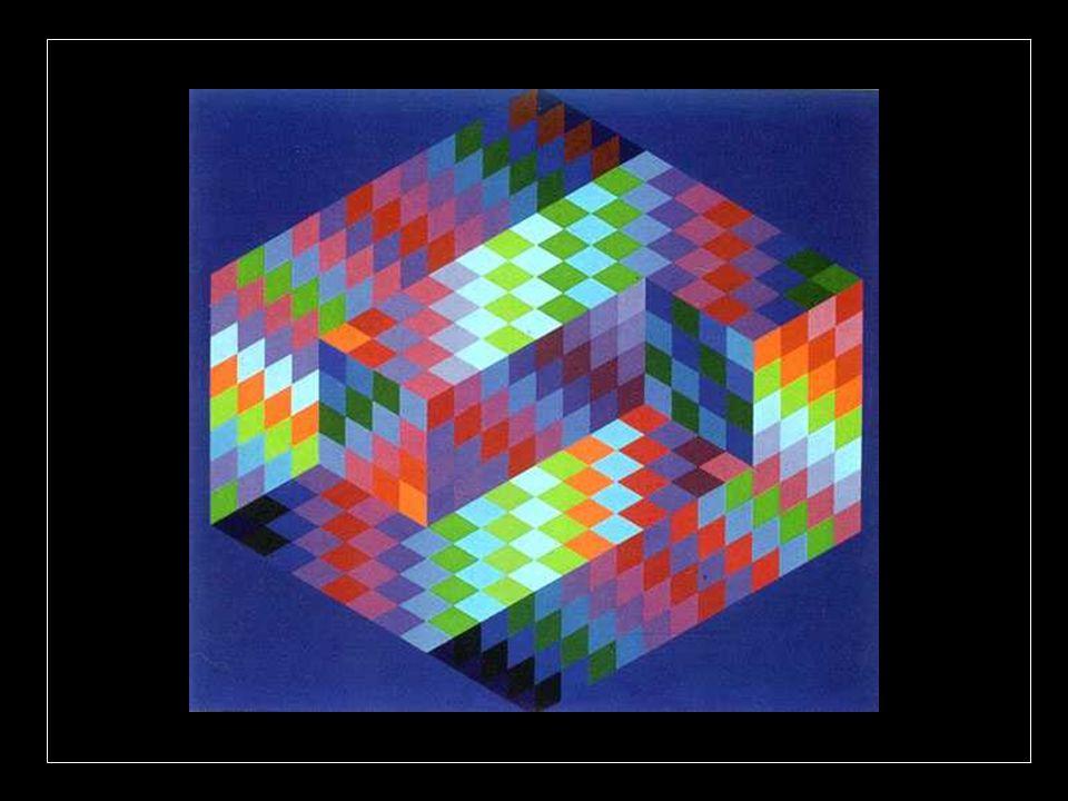 Pour construire ces effets optiques, les méthodes et matériaux sont multiples : assemblage de figures géométriques différentes, oppositions chromatiqu