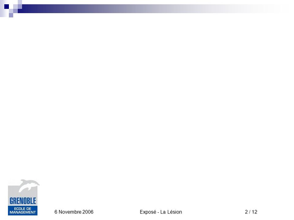 Exposé - La Lésion 6 Novembre 2006 3 / 12 Introduction