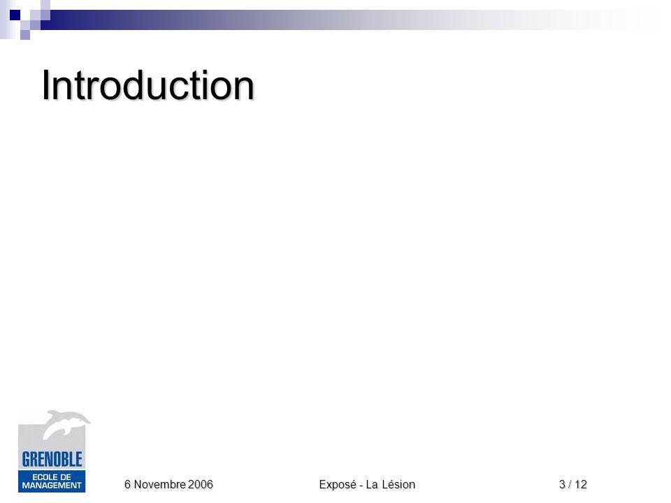 Exposé - La Lésion 6 Novembre 2006 4 / 12 Plan de lexposé