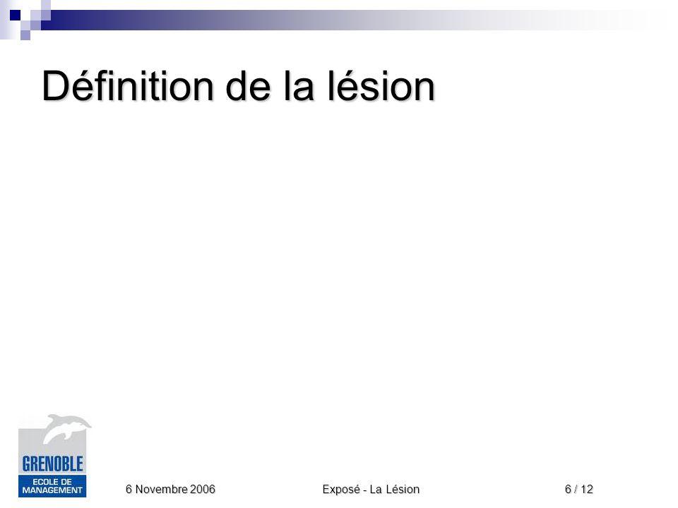 Exposé - La Lésion 6 Novembre 2006 6 / 12 Définition de la lésion