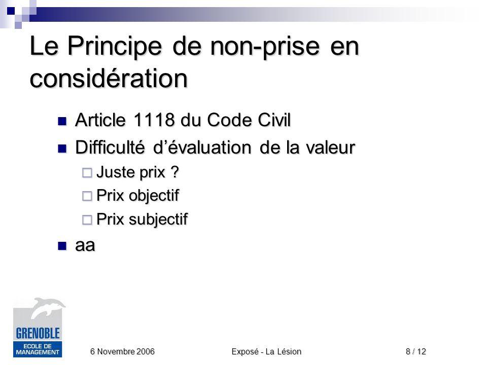 Exposé - La Lésion 6 Novembre 2006 8 / 12 Le Principe de non-prise en considération Article 1118 du Code Civil Article 1118 du Code Civil Difficulté dévaluation de la valeur Difficulté dévaluation de la valeur Juste prix .