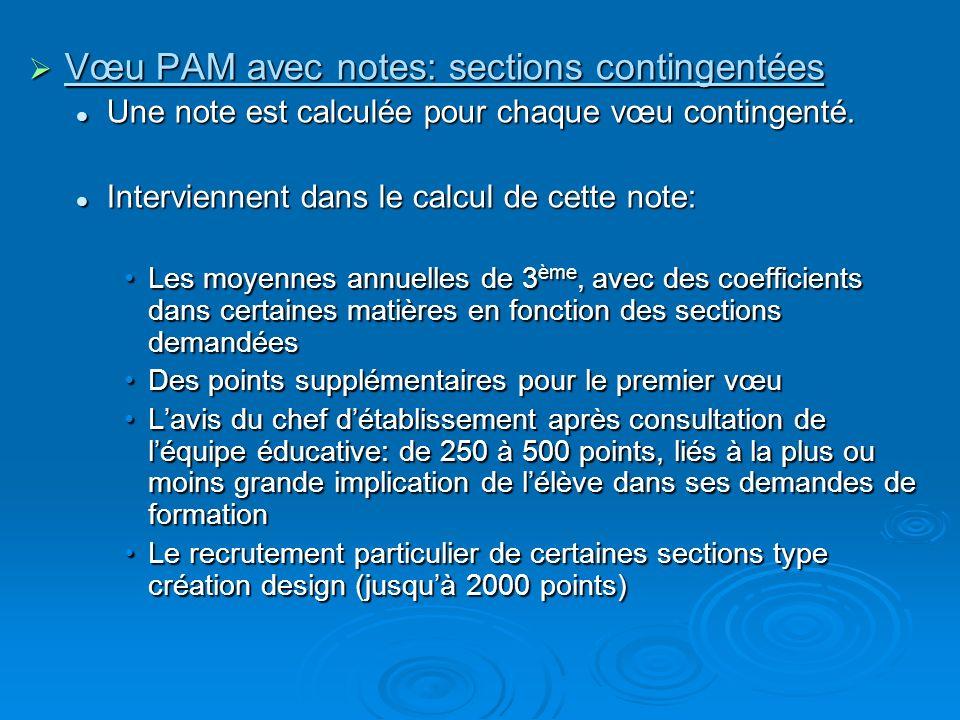 Vœu PAM avec notes: sections contingentées Vœu PAM avec notes: sections contingentées Une note est calculée pour chaque vœu contingenté. Une note est