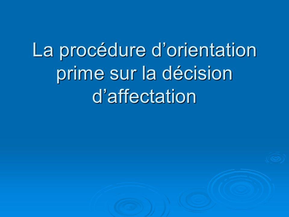 La procédure dorientation prime sur la décision daffectation