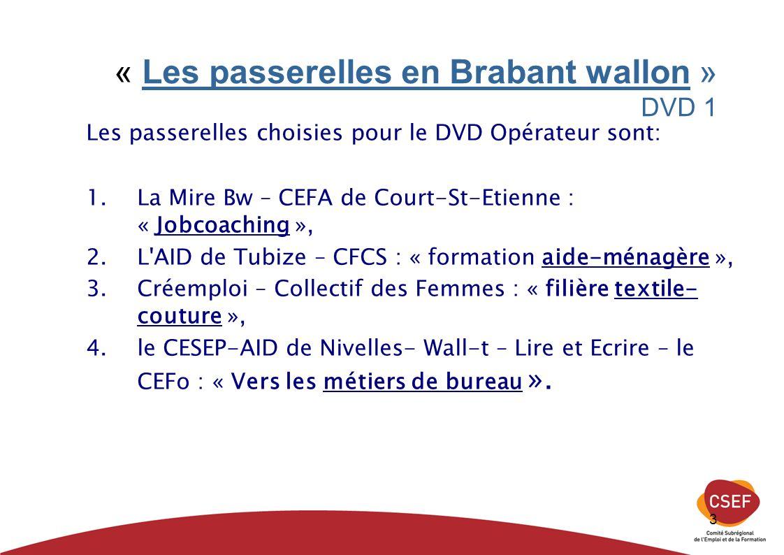 3 « Les passerelles en Brabant wallon » DVD 1 Les passerelles choisies pour le DVD Opérateur sont: 1.La Mire Bw – CEFA de Court-St-Etienne : « Jobcoaching », 2.L AID de Tubize – CFCS : « formation aide-ménagère », 3.Créemploi – Collectif des Femmes : « filière textile- couture », 4.le CESEP-AID de Nivelles- Wall-t – Lire et Ecrire – le CEFo : « Vers les métiers de bureau ».
