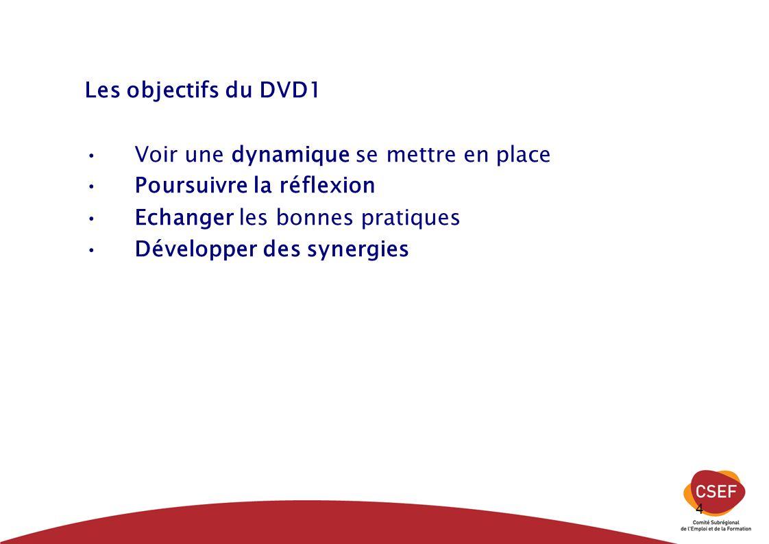 4 Les objectifs du DVD1 Voir une dynamique se mettre en place Poursuivre la réflexion Echanger les bonnes pratiques Développer des synergies