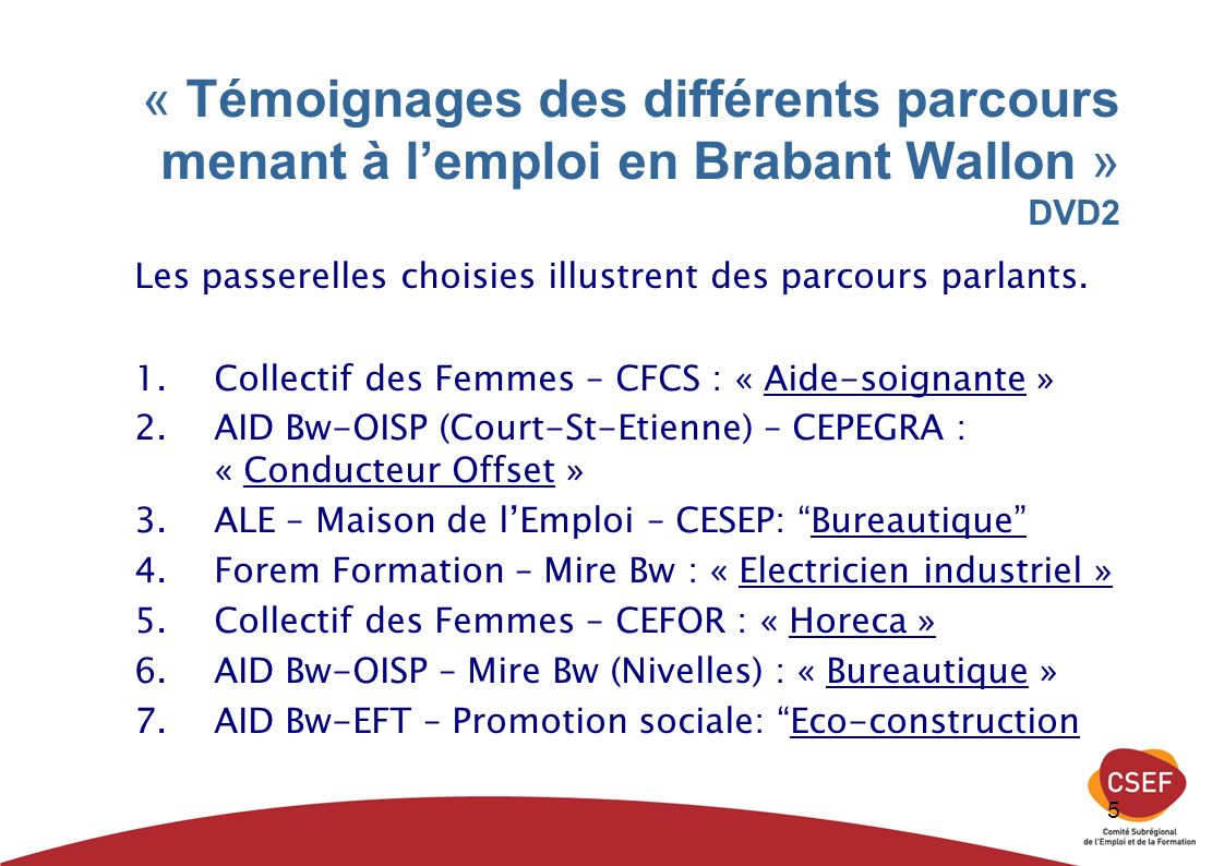 5 « Témoignages des différents parcours menant à lemploi en Brabant Wallon » DVD2 Les passerelles choisies illustrent des parcours parlants. 1.Collect