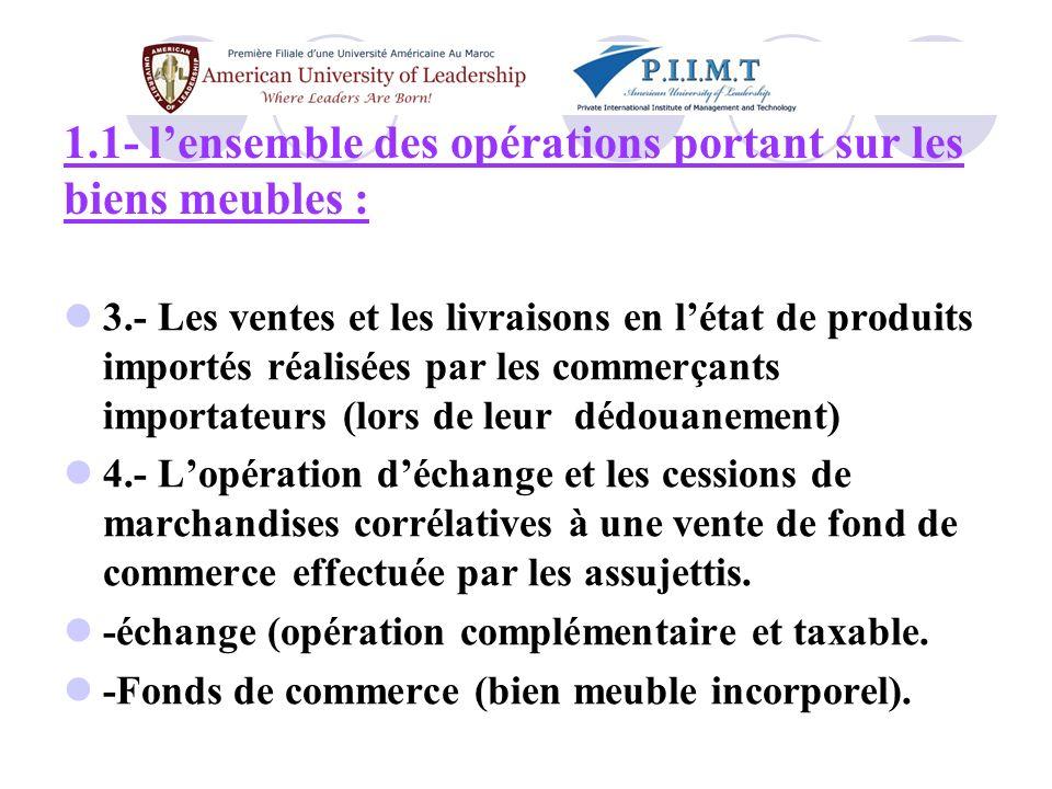 Exemple3 : Soit un commerçant tenant un magasin dalimentation générale (classé à limpôt des patente) a réalisé au cours de la période du 01/07/09 au 31/12/09 un CA de lordre de 1.500.000 DH.