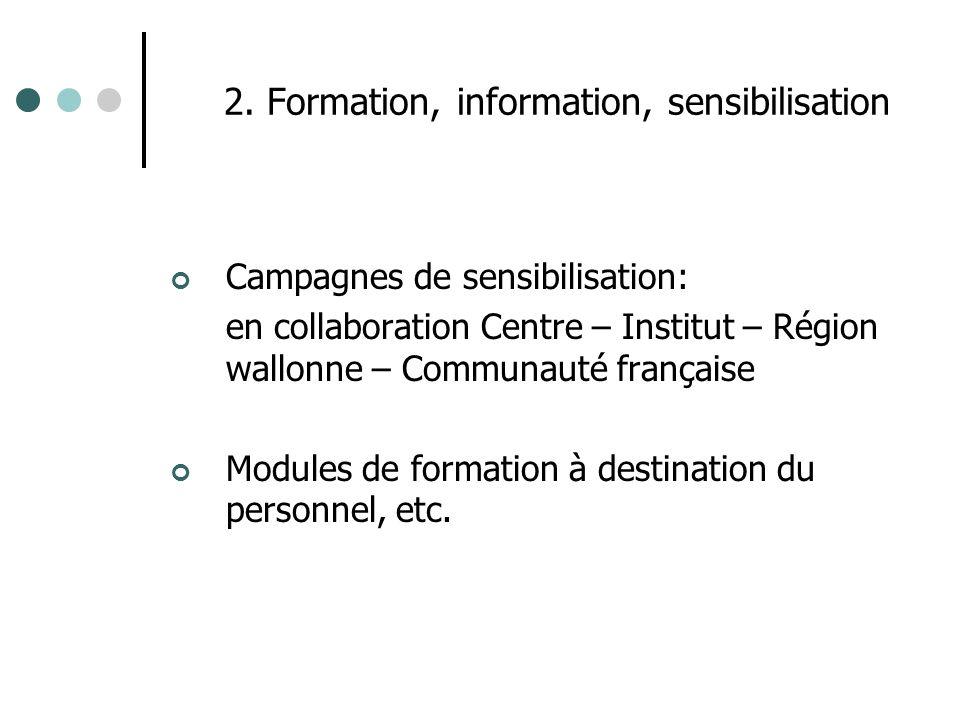 2. Formation, information, sensibilisation Campagnes de sensibilisation: en collaboration Centre – Institut – Région wallonne – Communauté française M