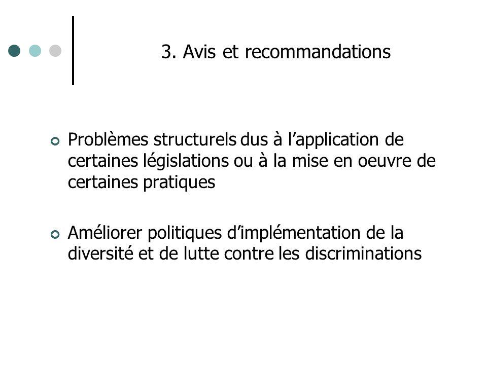 3. Avis et recommandations Problèmes structurels dus à lapplication de certaines législations ou à la mise en oeuvre de certaines pratiques Améliorer