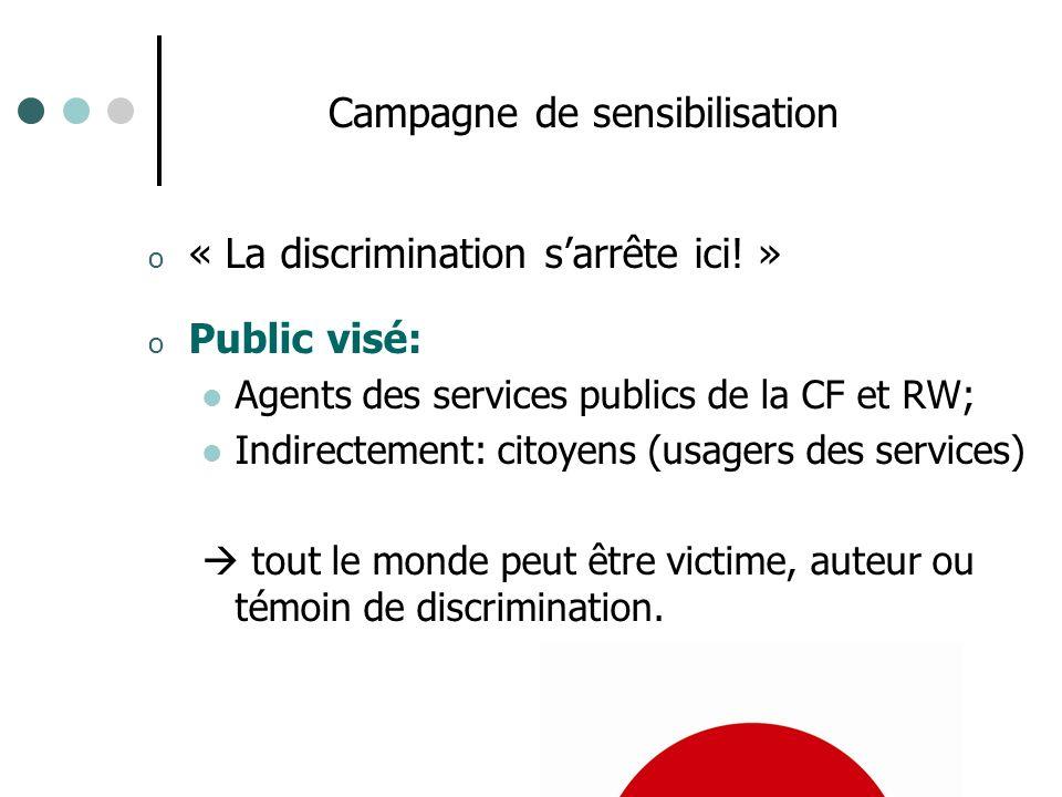 Campagne de sensibilisation o « La discrimination sarrête ici! » o Public visé: Agents des services publics de la CF et RW; Indirectement: citoyens (u