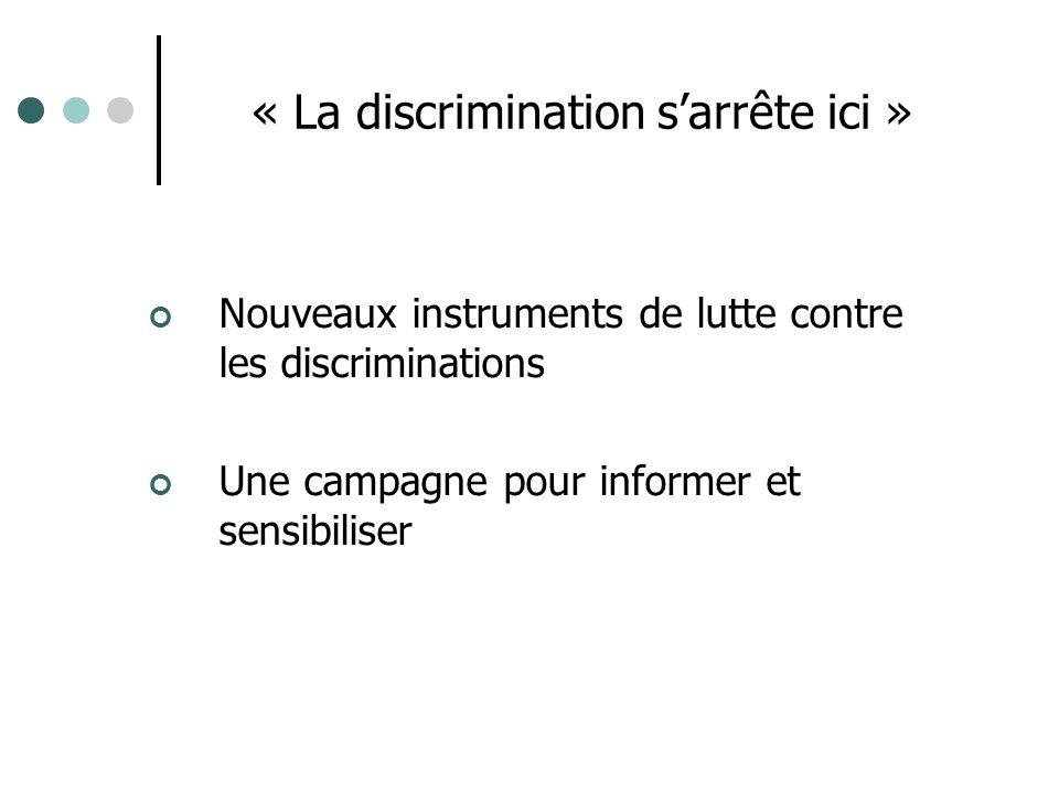 « La discrimination sarrête ici » Nouveaux instruments de lutte contre les discriminations Une campagne pour informer et sensibiliser