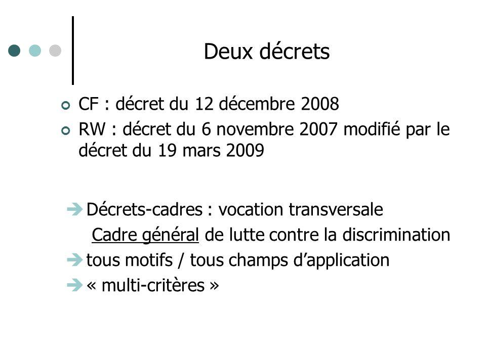 CF : décret du 12 décembre 2008 RW : décret du 6 novembre 2007 modifié par le décret du 19 mars 2009 Deux décrets Décrets-cadres : vocation transversale Cadre général de lutte contre la discrimination tous motifs / tous champs dapplication « multi-critères »
