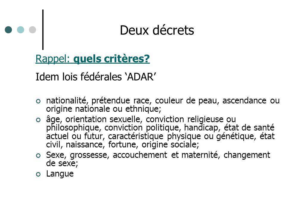 Rappel: quels critères? Idem lois fédérales ADAR nationalité, prétendue race, couleur de peau, ascendance ou origine nationale ou ethnique; âge, orien