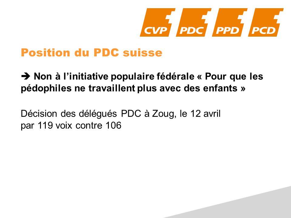 Position du PDC suisse Non à linitiative populaire fédérale « Pour que les pédophiles ne travaillent plus avec des enfants » Décision des délégués PDC à Zoug, le 12 avril par 119 voix contre 106
