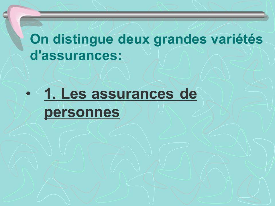 On distingue deux grandes variétés d'assurances: 1. Les assurances de personnes