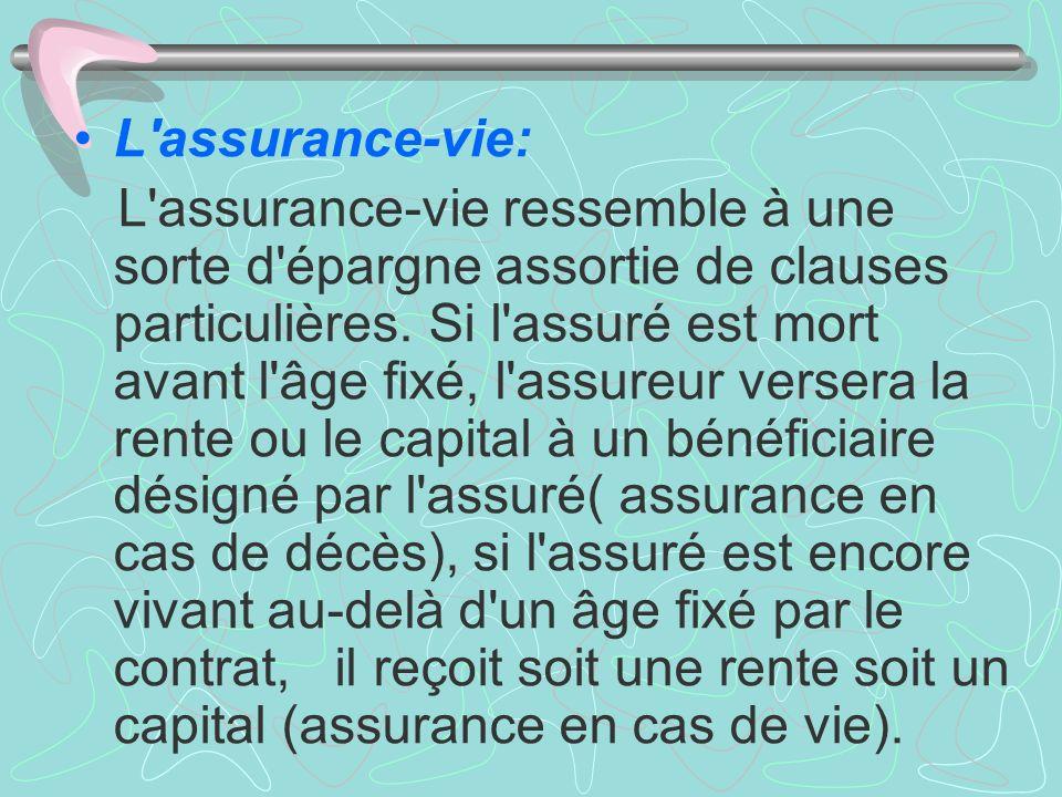 L'assurance-vie: L'assurance-vie ressemble à une sorte d'épargne assortie de clauses particulières. Si l'assuré est mort avant l'âge fixé, l'assureur