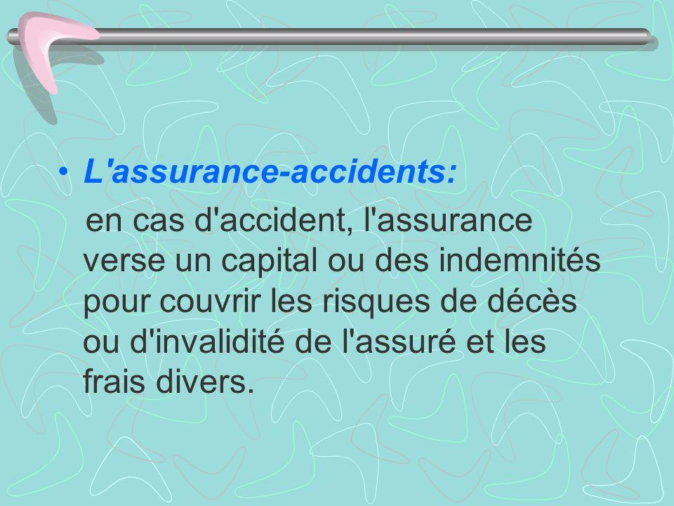 L'assurance-accidents: en cas d'accident, l'assurance verse un capital ou des indemnités pour couvrir les risques de décès ou d'invalidité de l'assuré
