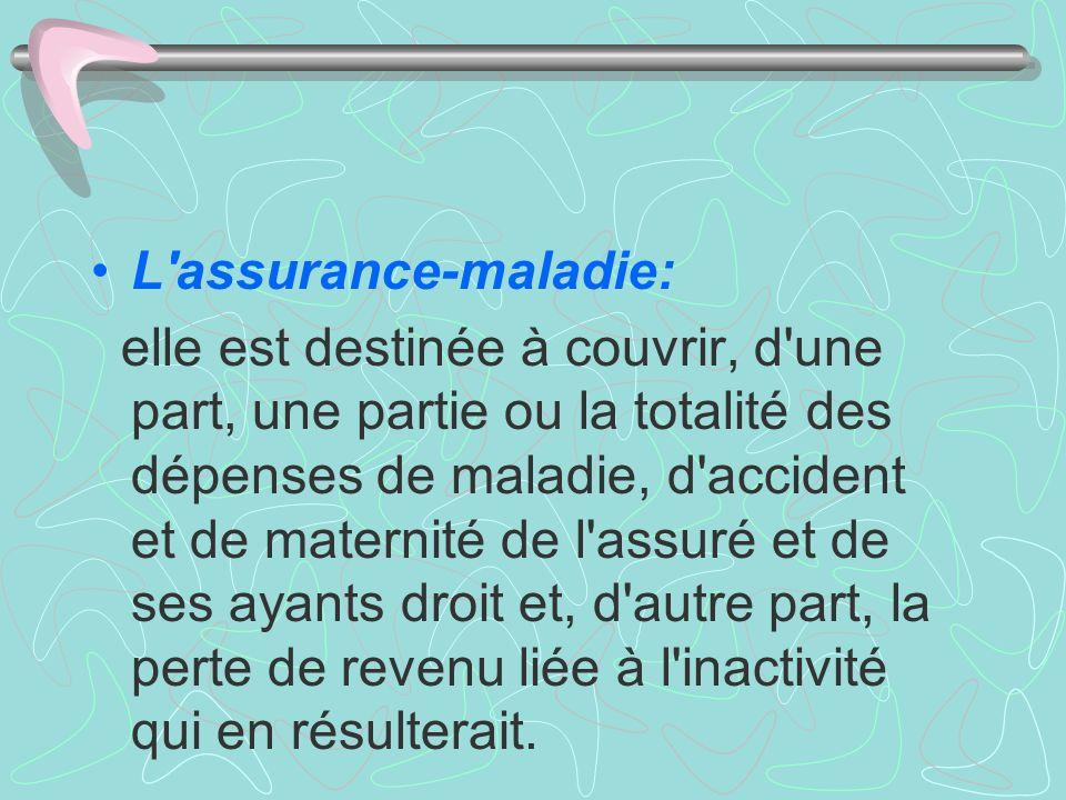 L'assurance-maladie: elle est destinée à couvrir, d'une part, une partie ou la totalité des dépenses de maladie, d'accident et de maternité de l'assur