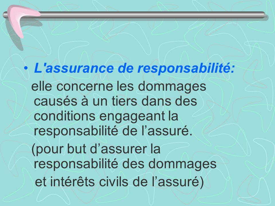 L'assurance de responsabilité: elle concerne les dommages causés à un tiers dans des conditions engageant la responsabilité de lassuré. (pour but dass