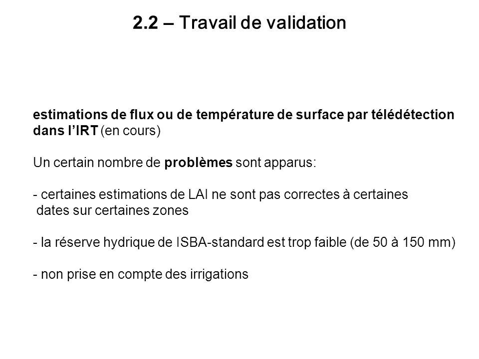 2.2 – Travail de validation estimations de flux ou de température de surface par télédétection dans lIRT (en cours) Un certain nombre de problèmes son