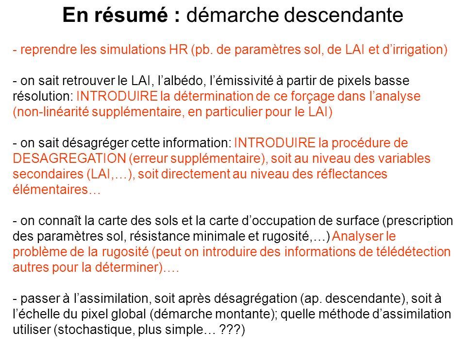 En résumé : démarche descendante - reprendre les simulations HR (pb. de paramètres sol, de LAI et dirrigation) - on sait retrouver le LAI, lalbédo, lé