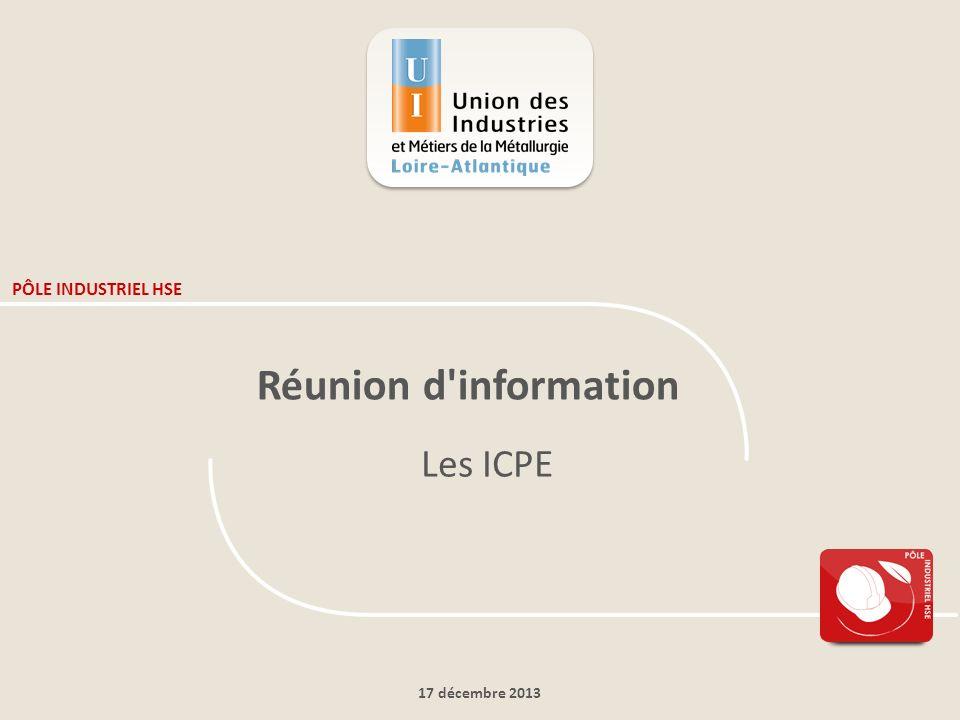 17 décembre 2013 PÔLE INDUSTRIEL HSE Réunion d'information Les ICPE