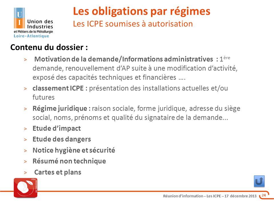 Réunion d'information – Les ICPE – 17 décembre 2013 24 Les obligations par régimes Les ICPE soumises à autorisation Contenu du dossier : > Motivation