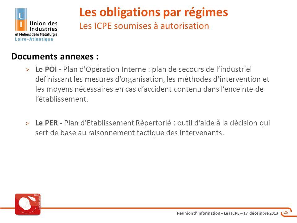 Réunion d'information – Les ICPE – 17 décembre 2013 25 Les obligations par régimes Les ICPE soumises à autorisation Documents annexes : > Le POI - Pla