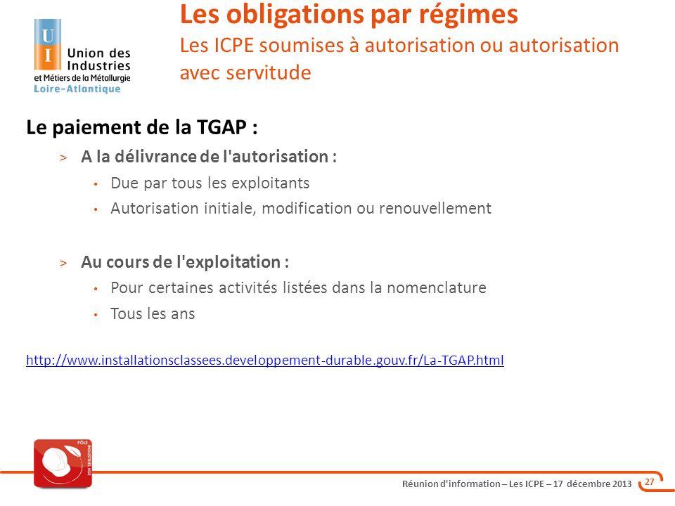 Réunion d'information – Les ICPE – 17 décembre 2013 27 Les obligations par régimes Les ICPE soumises à autorisation ou autorisation avec servitude Le