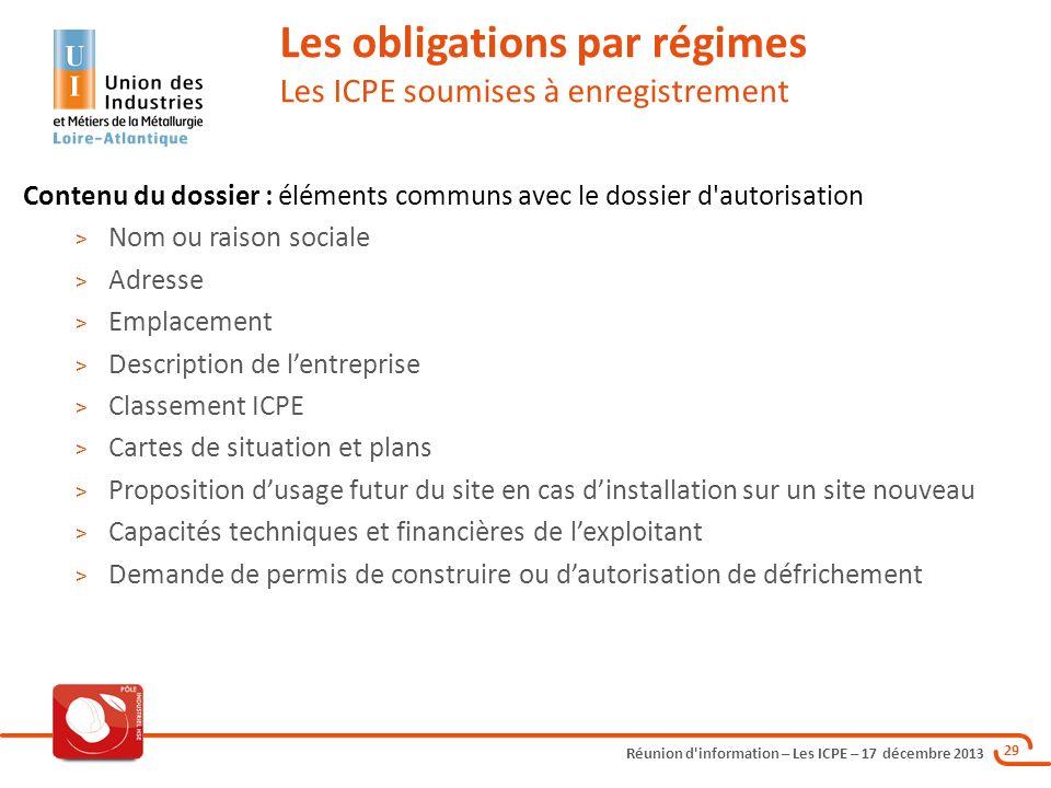 Réunion d'information – Les ICPE – 17 décembre 2013 29 Les obligations par régimes Les ICPE soumises à enregistrement Contenu du dossier : éléments co