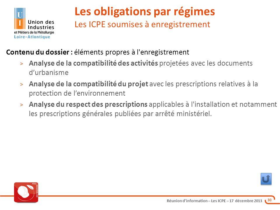 Réunion d'information – Les ICPE – 17 décembre 2013 30 Les obligations par régimes Les ICPE soumises à enregistrement Contenu du dossier : éléments pr
