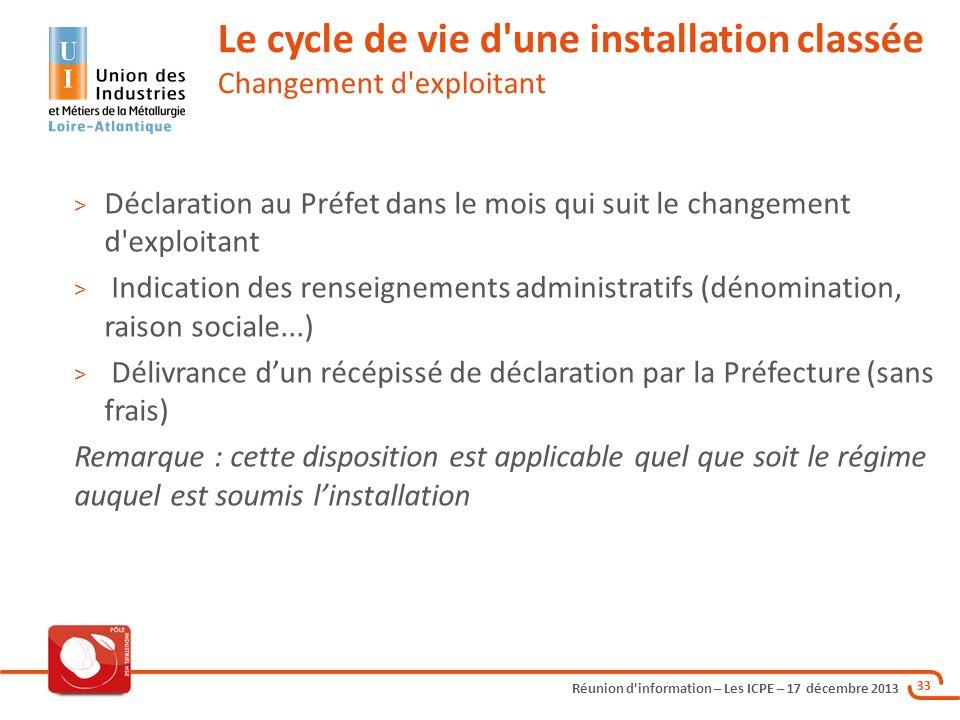 Réunion d'information – Les ICPE – 17 décembre 2013 33 > Déclaration au Préfet dans le mois qui suit le changement d'exploitant > Indication des rense