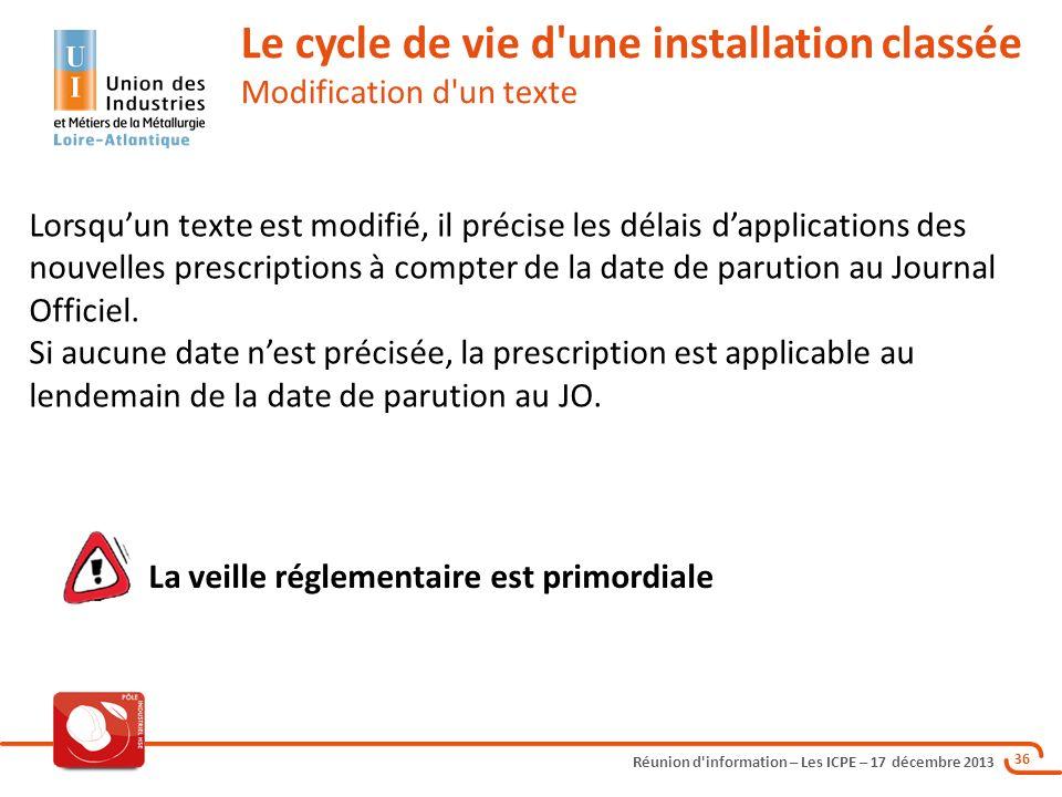 Réunion d'information – Les ICPE – 17 décembre 2013 36 Lorsquun texte est modifié, il précise les délais dapplications des nouvelles prescriptions à c