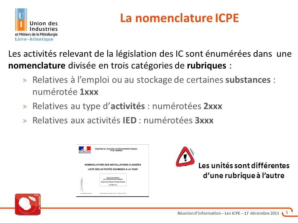 Réunion d'information – Les ICPE – 17 décembre 2013 5 Les activités relevant de la législation des IC sont énumérées dans une nomenclature divisée en