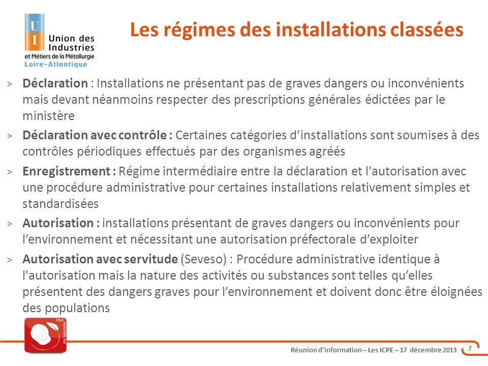 Réunion d'information – Les ICPE – 17 décembre 2013 7 > Déclaration : Installations ne présentant pas de graves dangers ou inconvénients mais devant n