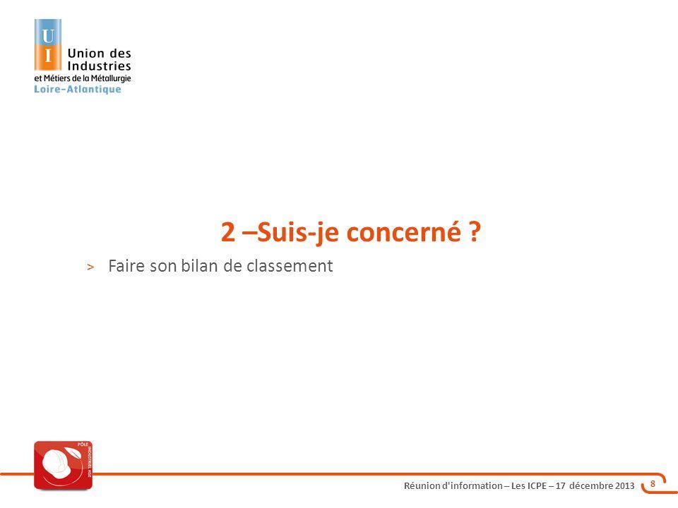 Réunion d'information – Les ICPE – 17 décembre 2013 8 2 –Suis-je concerné ? > Faire son bilan de classement
