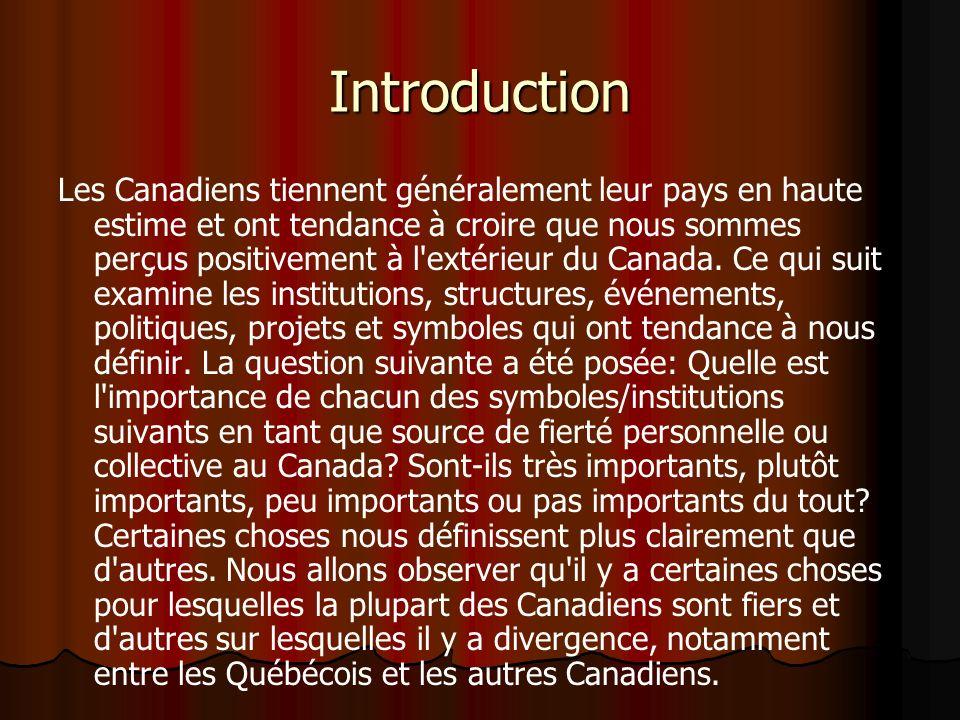 Introduction Les Canadiens tiennent généralement leur pays en haute estime et ont tendance à croire que nous sommes perçus positivement à l extérieur du Canada.