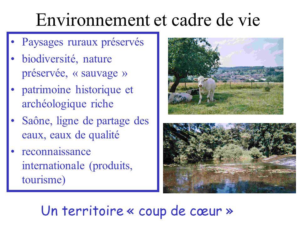 Environnement et cadre de vie Paysages ruraux préservés biodiversité, nature préservée, « sauvage » patrimoine historique et archéologique riche Saône