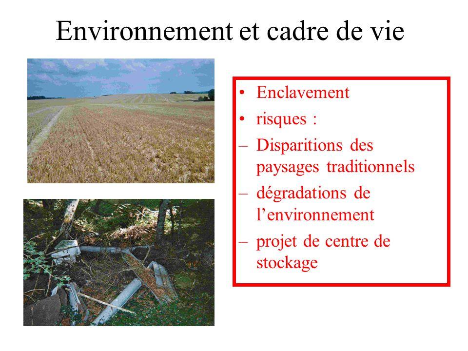 Environnement et cadre de vie Enclavement risques : –Disparitions des paysages traditionnels –dégradations de lenvironnement –projet de centre de stoc
