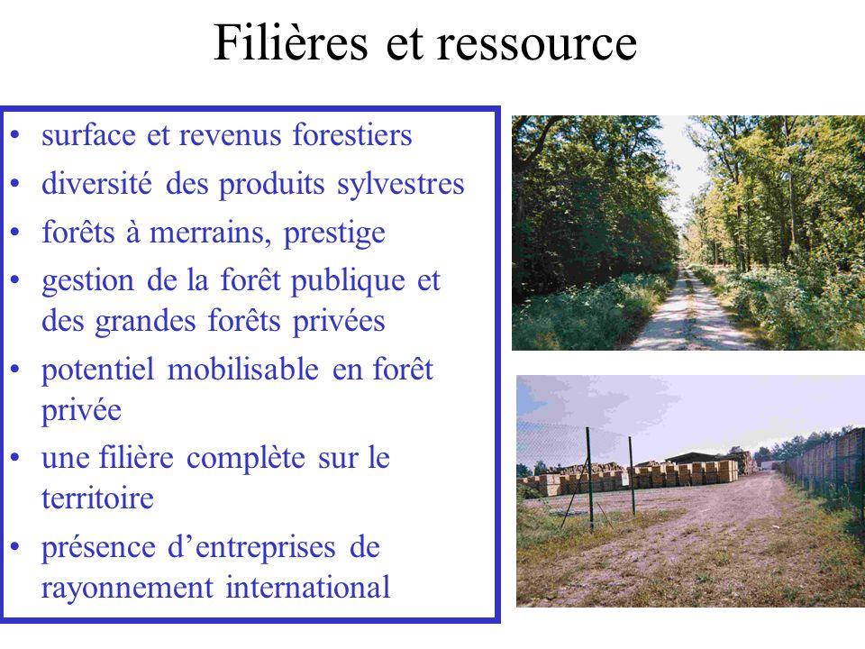 Filières et ressource surface et revenus forestiers diversité des produits sylvestres forêts à merrains, prestige gestion de la forêt publique et des