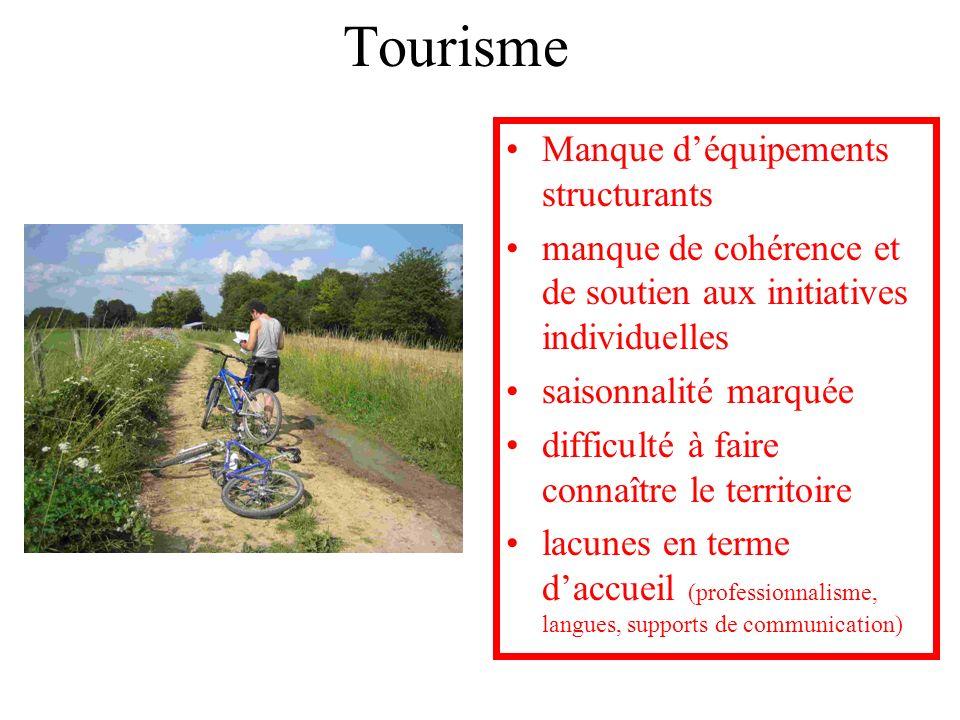 Tourisme Manque déquipements structurants manque de cohérence et de soutien aux initiatives individuelles saisonnalité marquée difficulté à faire conn