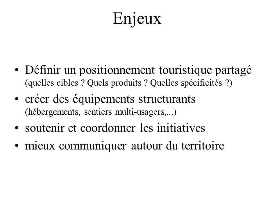 Enjeux Définir un positionnement touristique partagé (quelles cibles ? Quels produits ? Quelles spécificités ?) créer des équipements structurants (hé