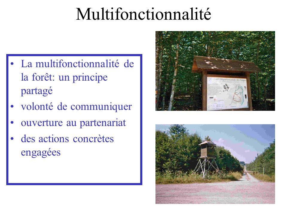 Multifonctionnalité La multifonctionnalité de la forêt: un principe partagé volonté de communiquer ouverture au partenariat des actions concrètes enga
