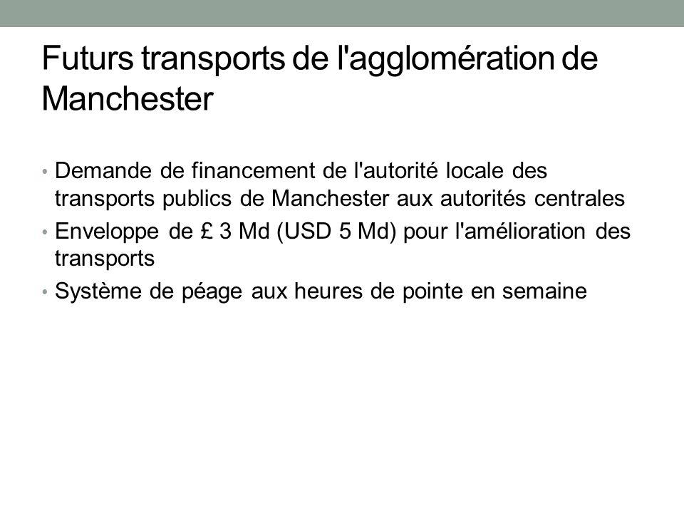Futurs transports de l agglomération de Manchester Demande de financement de l autorité locale des transports publics de Manchester aux autorités centrales Enveloppe de £ 3 Md (USD 5 Md) pour l amélioration des transports Système de péage aux heures de pointe en semaine