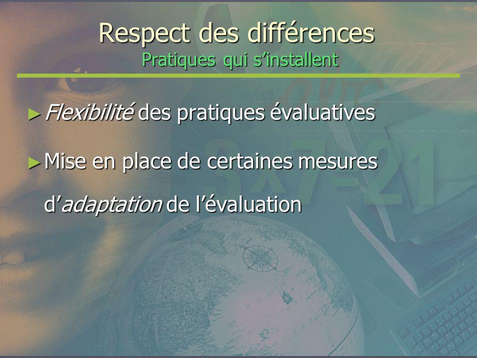 Respect des différences Pratiques qui sinstallent Flexibilité des pratiques évaluatives Flexibilité des pratiques évaluatives Mise en place de certain