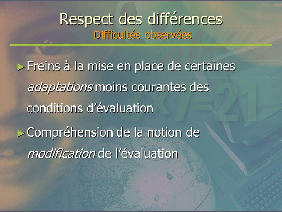 Respect des différences Difficultés observées Freins à la mise en place de certaines adaptations moins courantes des conditions dévaluation Freins à l