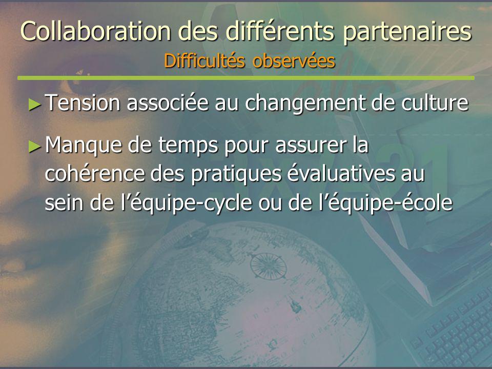 Collaboration des différents partenaires Difficultés observées Tension associée au changement de culture Tension associée au changement de culture Man