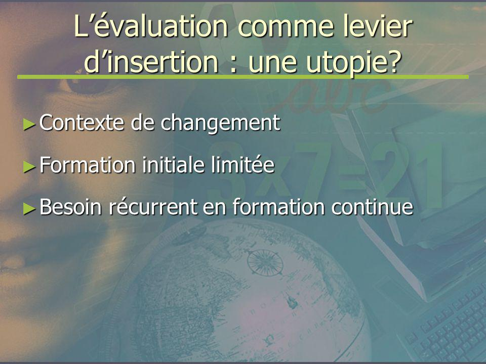 Lévaluation comme levier dinsertion : une utopie? Contexte de changement Contexte de changement Formation initiale limitée Formation initiale limitée